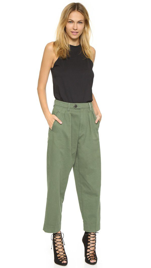 64-Victoria-Beckham-Women-s-Tab-Pleat-Chinos-4 How to Wear Chinos? 20 Best outfits to Wear with Chinos