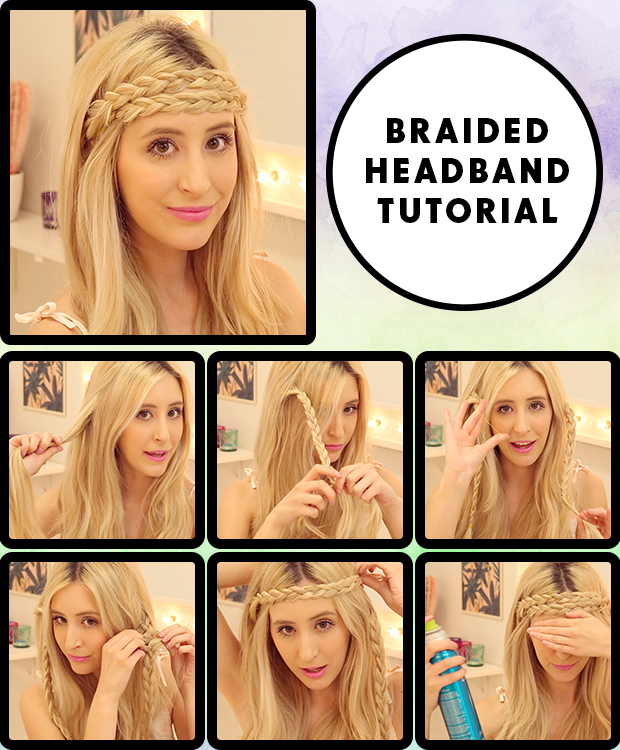 Braided-Headband-Hair-Tutorial-Steps How to Wear Extensions-Step by Step Guide for Beginners