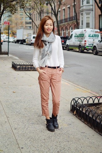 cable-sweater-chinos-ankle-boots-belt-scarf-large-6401 How to Wear Chinos? 20 Best outfits to Wear with Chinos