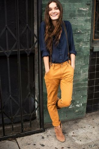 navy-button-down-blouse-tobacco-chinos-tan-ankle-boots-olive-suspenders-large-1120 How to Wear Chinos? 20 Best outfits to Wear with Chinos