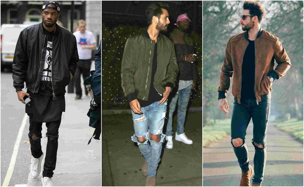 rippedjeans-1 How to Wear Bomber Jacket Men-18 Outfits with Bomber Jackets